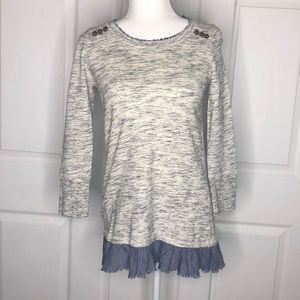 Anthropologie Saturday Sunday grey ruffle shirt